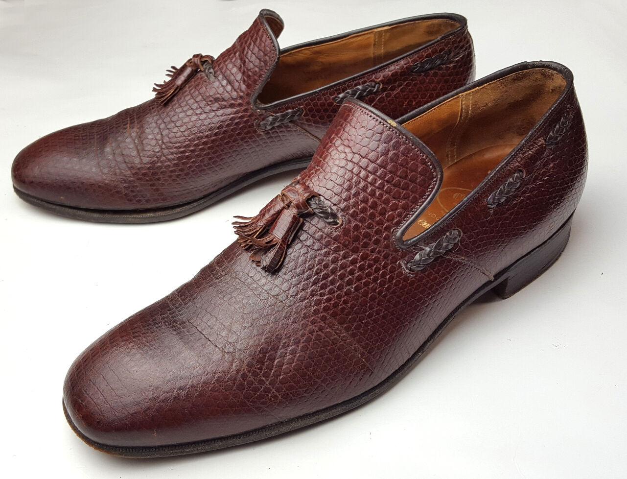 Church's Real Lizard Skin 11.5 D Shoes Custom Oxblood Loafers Tassles Scarpe classiche da uomo
