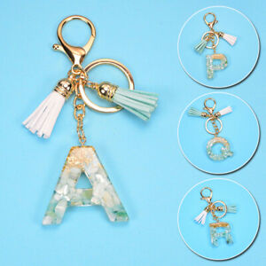Women-Acrylic-A-Z-Alphabet-Keychain-Bag-Pendant-Tassel-Key-Ring-Cute