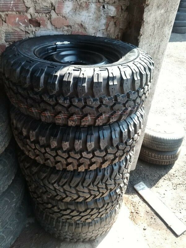 265/70/17 Mud terrain tyres with steel rims 6x139 pcd set R9999. Tyres only R2200 each.