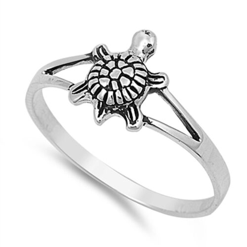Girl's Small Turtle Classic Ring New .925 Sterling Silver Thin Band Sizes 2-12