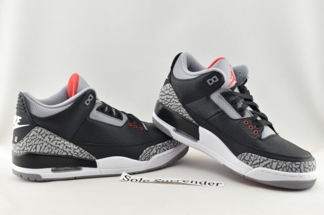 timeless design c622a be63f Nike Air Jordan 3 Retro OG III Black Cement Fire Red 2018 Aj3 Men  854262-001 8.5