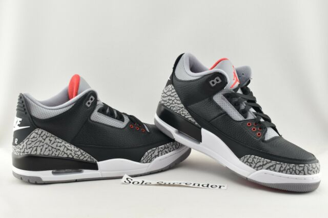 9c80024264fdd5 Nike Air Jordan 3 Retro OG III Black Cement Fire Red 2018 Aj3 Men ...