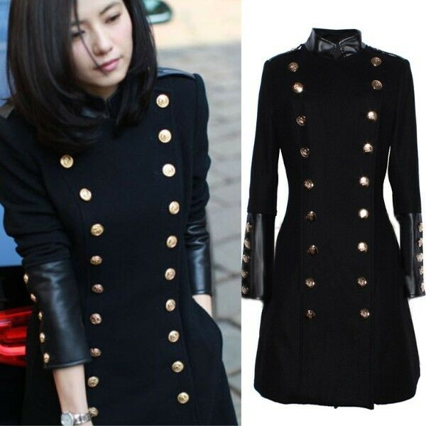 Retro Military Double Breasted Trench Coat Women's Stand Collar Long Jacket Coat
