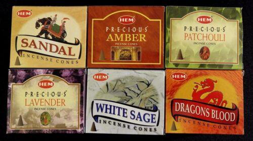 Dragons Blood White Sage Sandal Amber Patchouli Lavender x 60 HEM Incense Cones