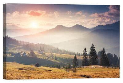 Stampa su Tela Vernice Effetto Pennellate panorama montagne