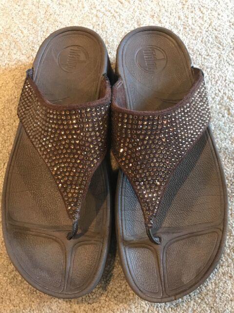 0a9a890484e8d6 FitFlop Rokkit Chocolate Brown Rhinestone Flip Flops Sandals Women s Size 8