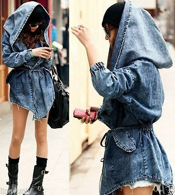 New Fashion Women Lady Denim Trench Coat Hoodie Hooded Outerwear Jean Jacket