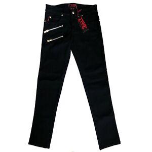 Tripp-NYC-80s-90s-Gothic-Biker-Goth-Punk-Mens-Black-Stretch-Skinny-Jeans-Size-28