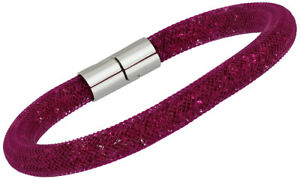67bb8be7d71e1 Details about Swarovski Stardust Fuchsia Crystal Filled Nylon Tube Bracelet  for Women 5092091