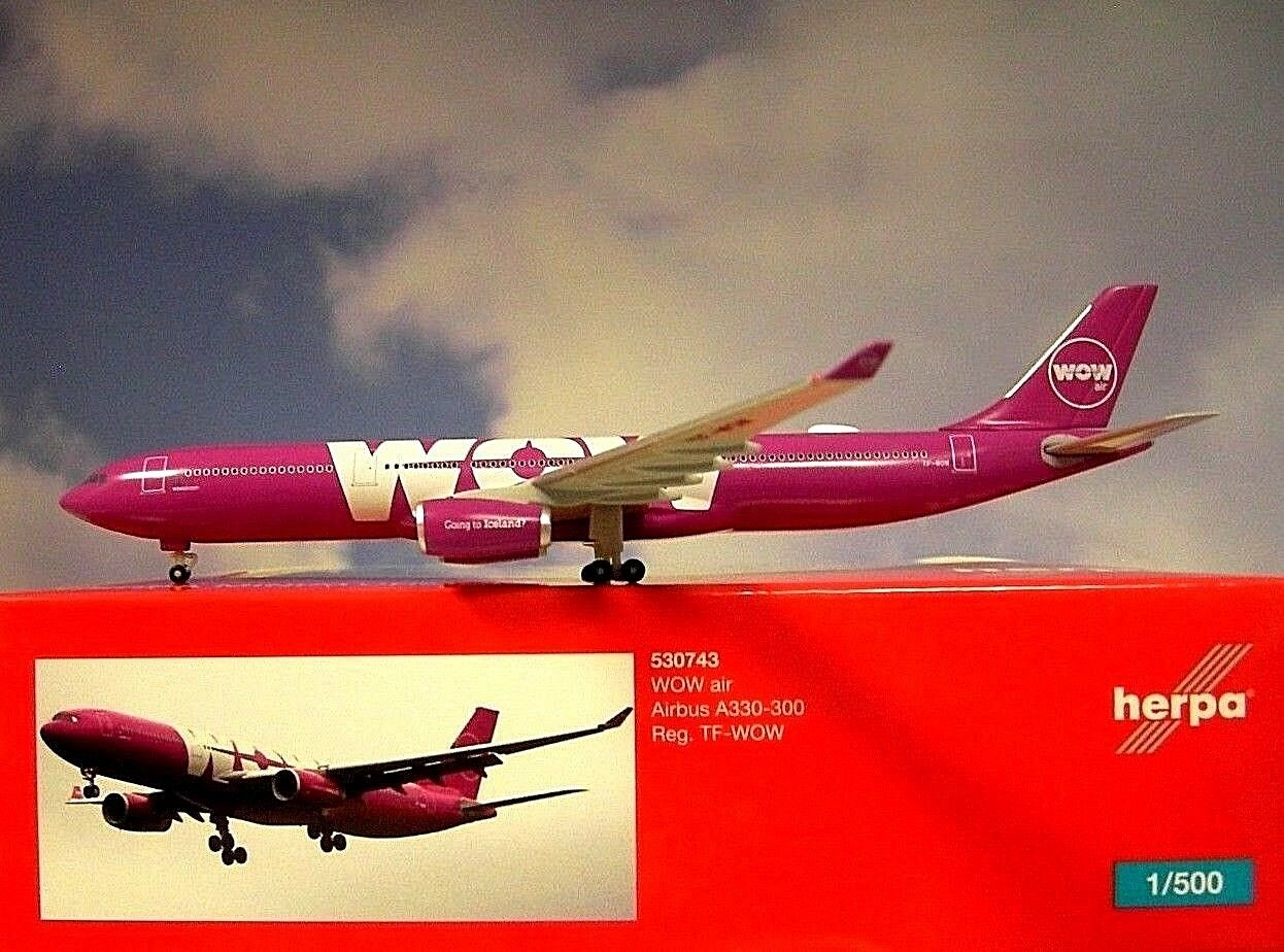 Herpa  Wings 1 500 Airbus A330-300 A330-300 A330-300  WOW air  TF-WOW  530743  Modellairport500 583114