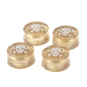 Musiclily-4Pcs-Metric-Plastic-Speed-Control-Knob-For-LP-White-Skull-Gold-Body