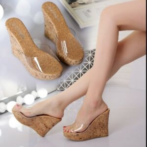 High-Wedge-Heels-Slippers-Summer-Womens-Open-Toe-Shoes-Clear-Platform-Sandal-Art