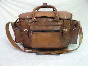 22-034-Vintage-Leather-Duffle-HoldAll-Bag-Weekend-Travel-Luggage-Handbag-Expendable