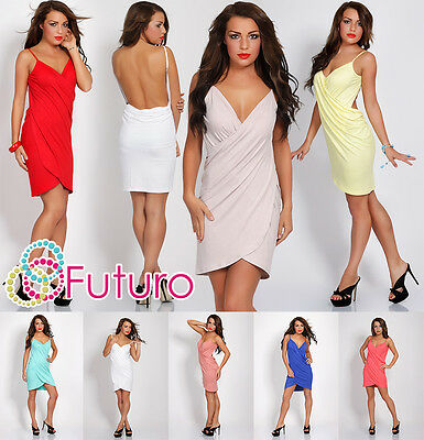 Sensual & Sexy Women's Dress Wrap V-Neck Party Sleeveless Size 8-12 8050