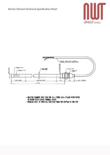 Heated Towel Rail Radiator Fixed Temp 70c 250W RICA Electric Heating Element