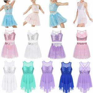 Kids-Girls-Sequins-Fairy-Latin-Dance-Dress-Tutu-Skirt-Carnival-Dancewear-Costume
