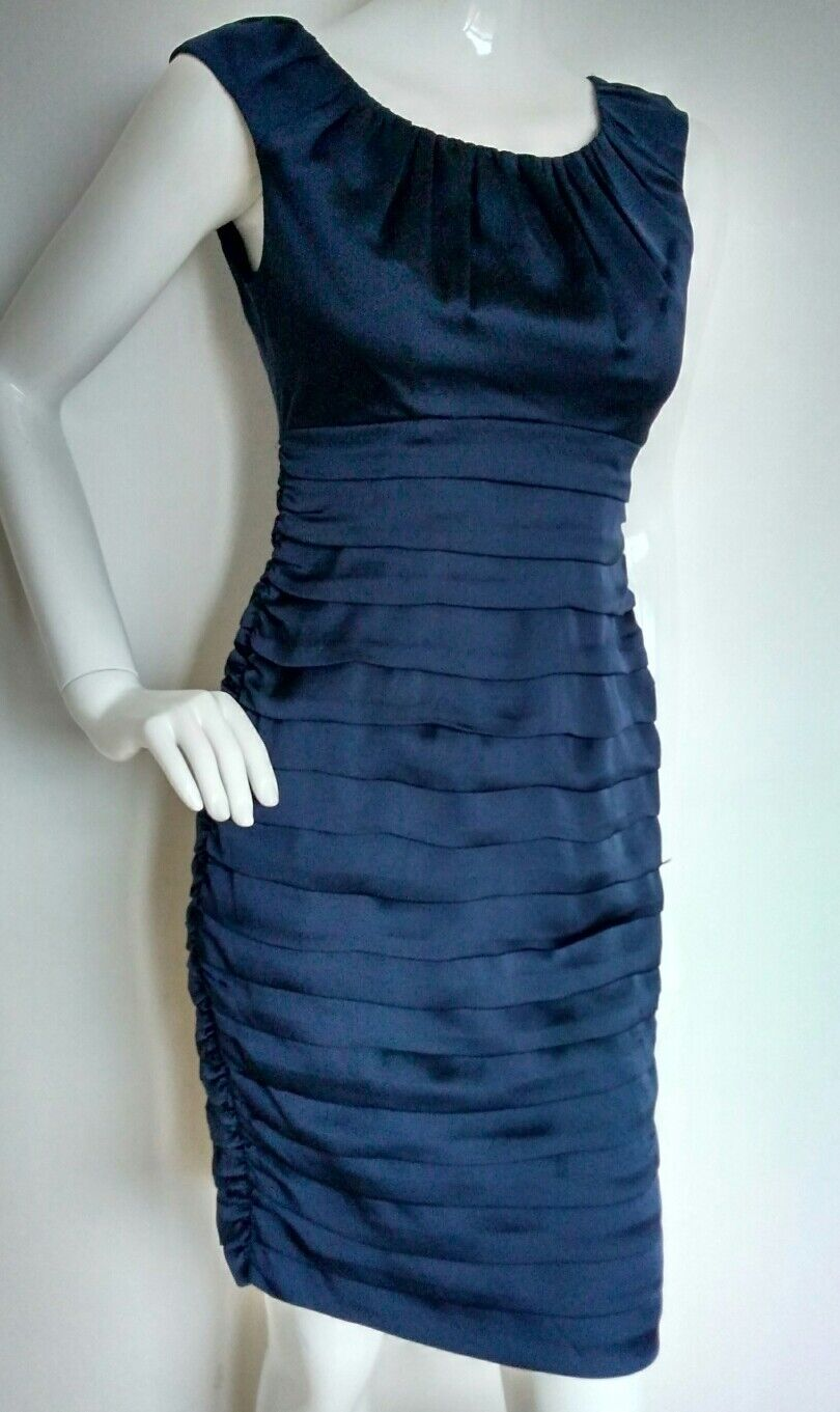 COAST ruched satin evening dress dress dress size 8 --BRAND NEW-- navy flattering fit 751d5c