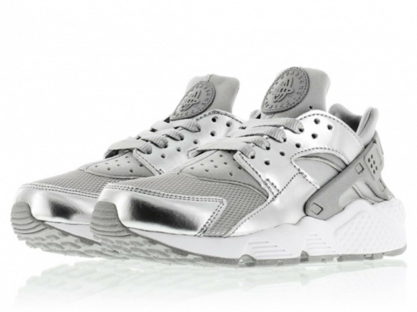 Nike Air Huarache Premium in Pelle NUOVE Scarpe Da Ginnastica Sneaker In Argento 693818 001