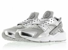 NIKE AIR HUARACHE PREMIUM LEATHER UK 9 NEW SILVER SNEAKER TRAINERS 693818 001