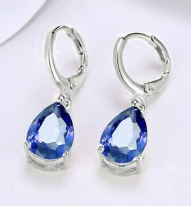 14k-White-Gold-Plated-Leverback-2-00-CT-Sapphire-Drop-Earrings-Natural-ITALY