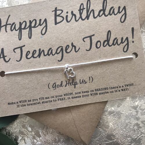 Funny Cheeky adolescent 13th Carte D/'Anniversaire Sweet Box Gift Wish Bracelet Fille