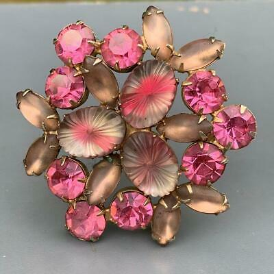 Very Large Glass Metal Brooch Pin Vintage Pastel Pink Blue Green Givre Glass Brooch Pin Free Postage