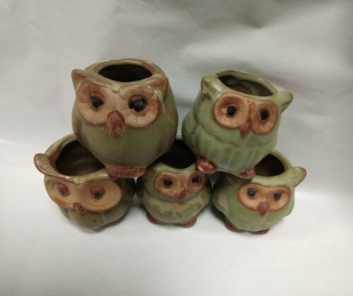 5x Mini Ceramic Plant Pot Owl Succulent Flower Planter Bonsai Box Garden Home A