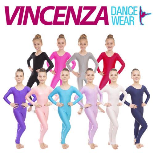 Childrens Girls Sleeved Lycra Dance Gymnastics Long Sleeve Unitard Catsuit
