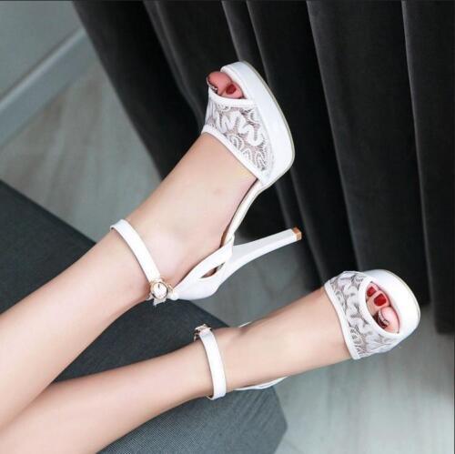Lace Shoes Pearl Open Toe Nightclub Mesh Women/'s High Stiletto Heel Sandal