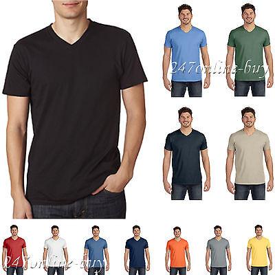 Hanes Men/'s Nano V Neck T-Shirt Short Sleeve Ringspun Cotton Solid Plain Blank