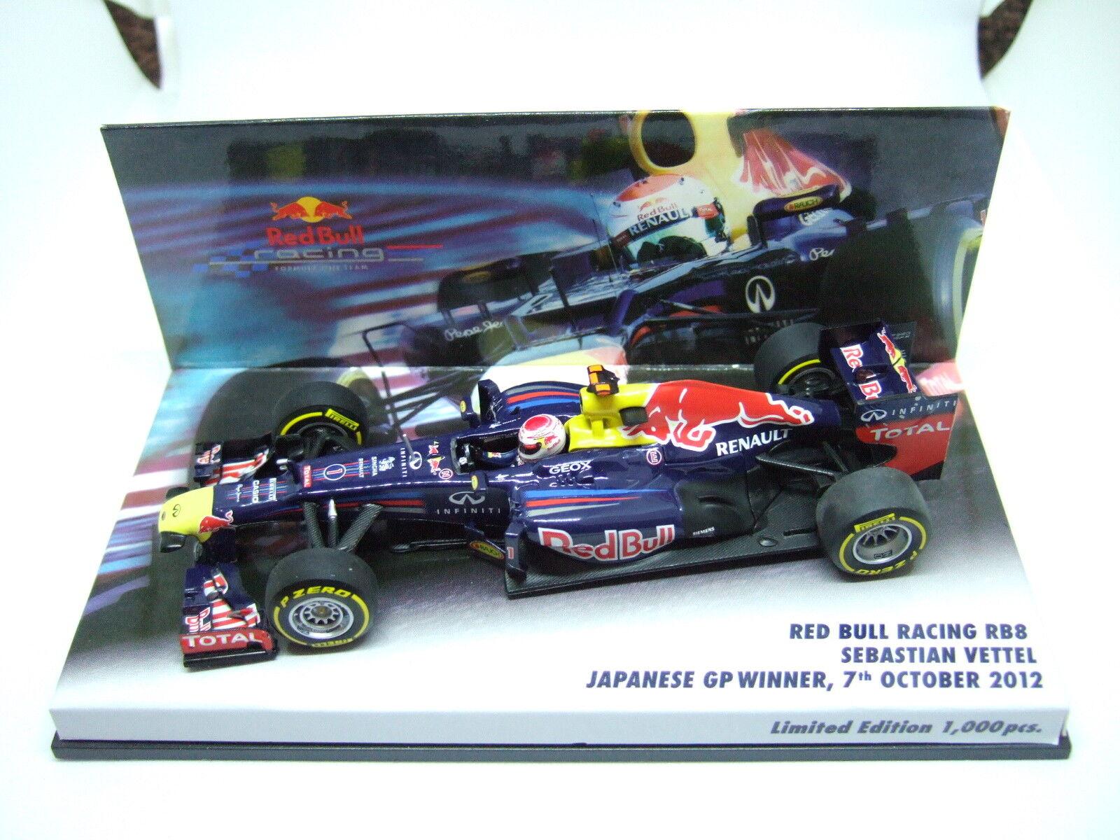MINICHAMPS Sebastian Vettel rouge Bull RB8 Japanese GP Winner 2012 1 43