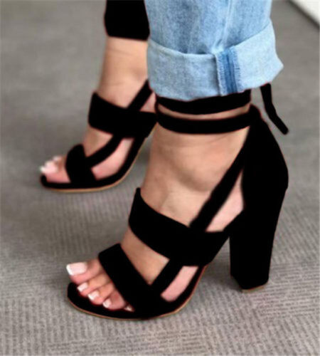New Womens Ladies High Block Heel Open Peep Toe Lace Up Sandals Party Shoes NG20