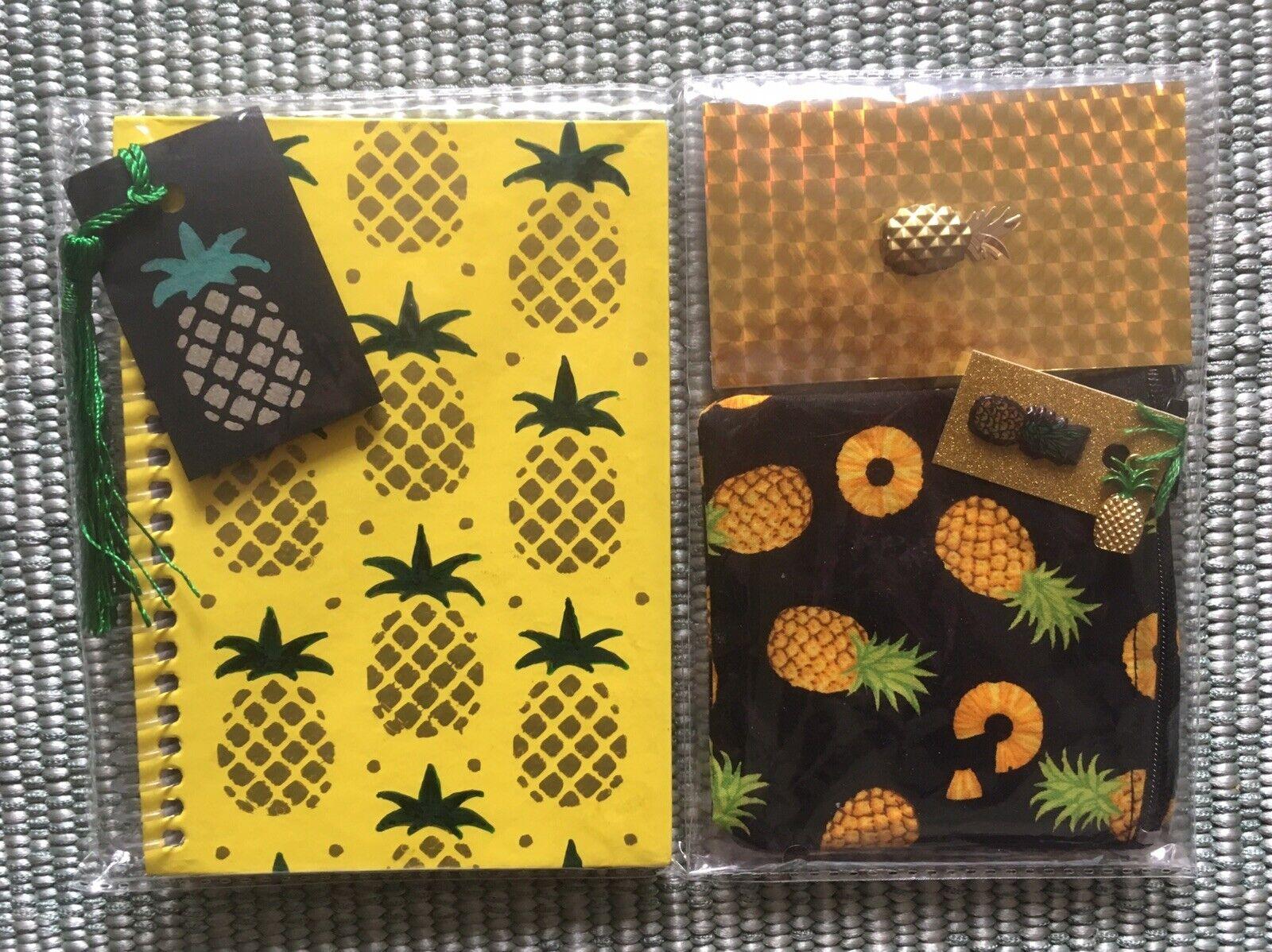 🍍Tiki A6 Pineapple Wiro Notebook +Mini Gold Jotter +Purse Tropical 3pc Gift Set
