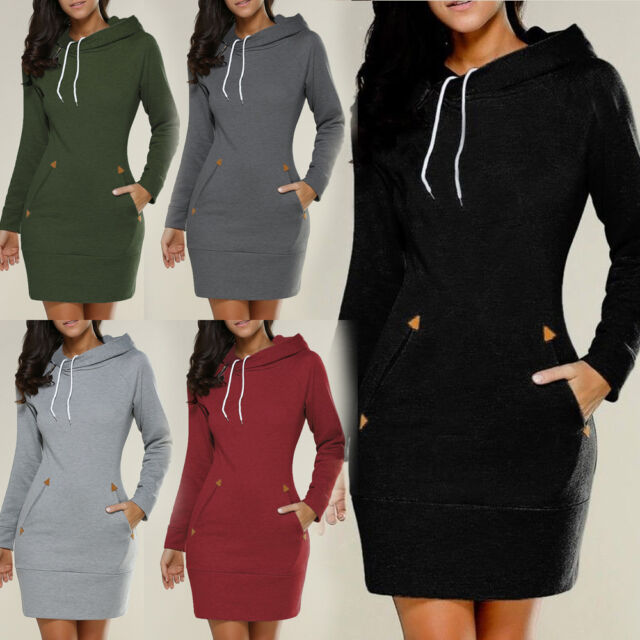Sexy Women Solid Hooded hoodie Pullover Long Sleeve Short Hoodie Skirt Dress NEW