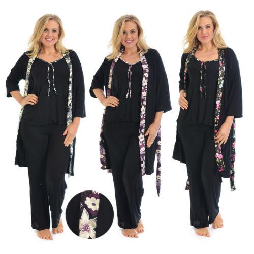 New Womens Gown Plus Size Ladies Cami Pyjama Floral Satin Trim PJ Set Nouvelle