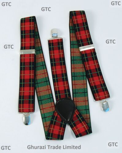 Scotts Mens Tartan Hat Ginger Hair and Tartan Punk Brace Stag Night Fancy Dress