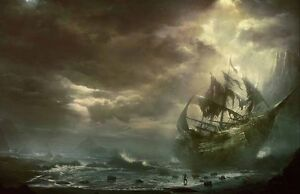 Home Art Wall Pirates Ship Boat Ocean Sea Oil Painting Picture Printed On Canvas