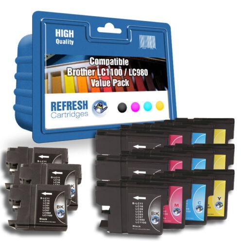 Refresh Kartuschen 15 Pack//3 Komplettset /& 3BK LC1100//LC980 Passend