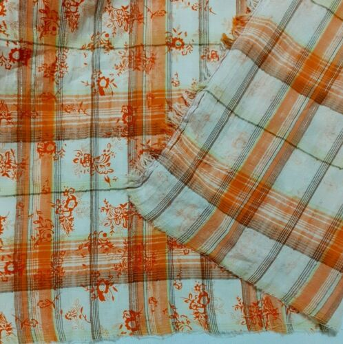 FLORAL PRINTED AND CHECKED CRINKLED COTTON LUREX FABRIC-SOLD BY THE METRE