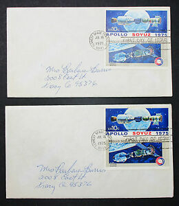 US-Postage-Set-of-2-Stamps-Covers-Letter-Envelope-Apollo-FDC-USA-Letter-H-7196