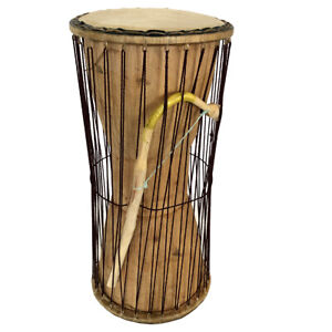 Classic Heartwood Dondo Talking Drum 7x15, African Talking Drum with Curved