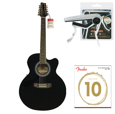 Imported From Abroad Stagg Acoustic Electric 12 String Guitar Jumbo Size Free Capo & Fender String Guitars & Basses