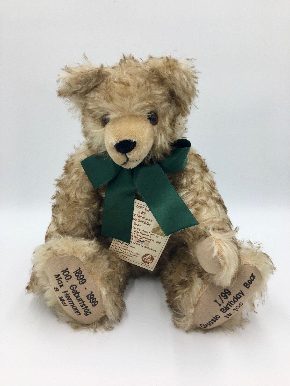 Collectable Teddy Bear 1899 1999 Max Hermann 100th Birthday Limited Edition