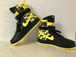 9a41a5bb96068 Nike SF Air Force 1 High Size 10 Black Dynamic Yellow AR1955-001 NEW ...