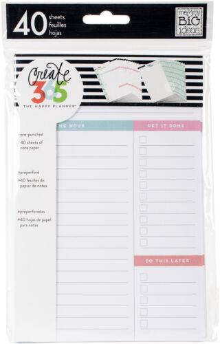 """Create 365 Mini Happy Planner Fill Paper 4.5/""""x7/"""" 40//Pkg-White Daily"""