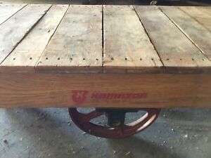 Antique Hamilton Wood Industrial Railroad Factory Cart Coffee Table
