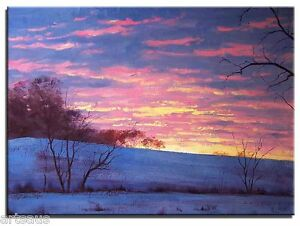 Original-Oil-Painting-Sunrise-Winter-Snow-Sunset-20x16-Landscape-Art-Canvas