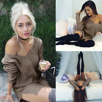 Winter Autumn Sexy Women Long Sleeve Knit Slim BodyCon V-Neck Sweater Mini Dress