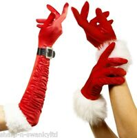 Ladies Sexy Mrs Santa Claus Christmas Red Fur Trim Gloves Fancy Dress Costume