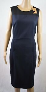 Navy Dress In £175 Fitted r163 Bnwt Contrast Rrp Uk Panel 14 black Jaeger TXOxYnf